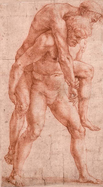 A Man Carrying An Older Man on His Back Raphael