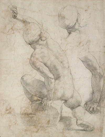 Sheet With Inventive Ideas and Studies of a Seated Male Nude Raphael